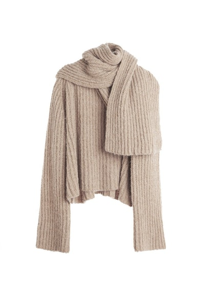 Chunky Rib Knit Scarf Sweater