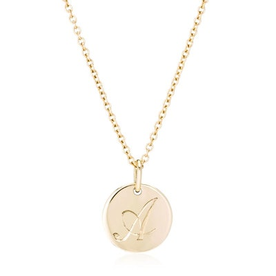 Small 14K Gold Initial Necklace