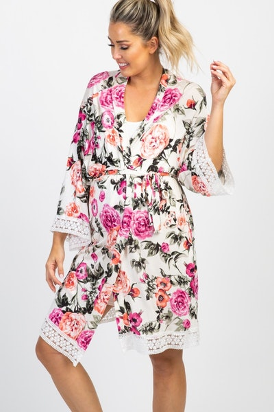 Ivory Floral Lace Trim Maternity Robe