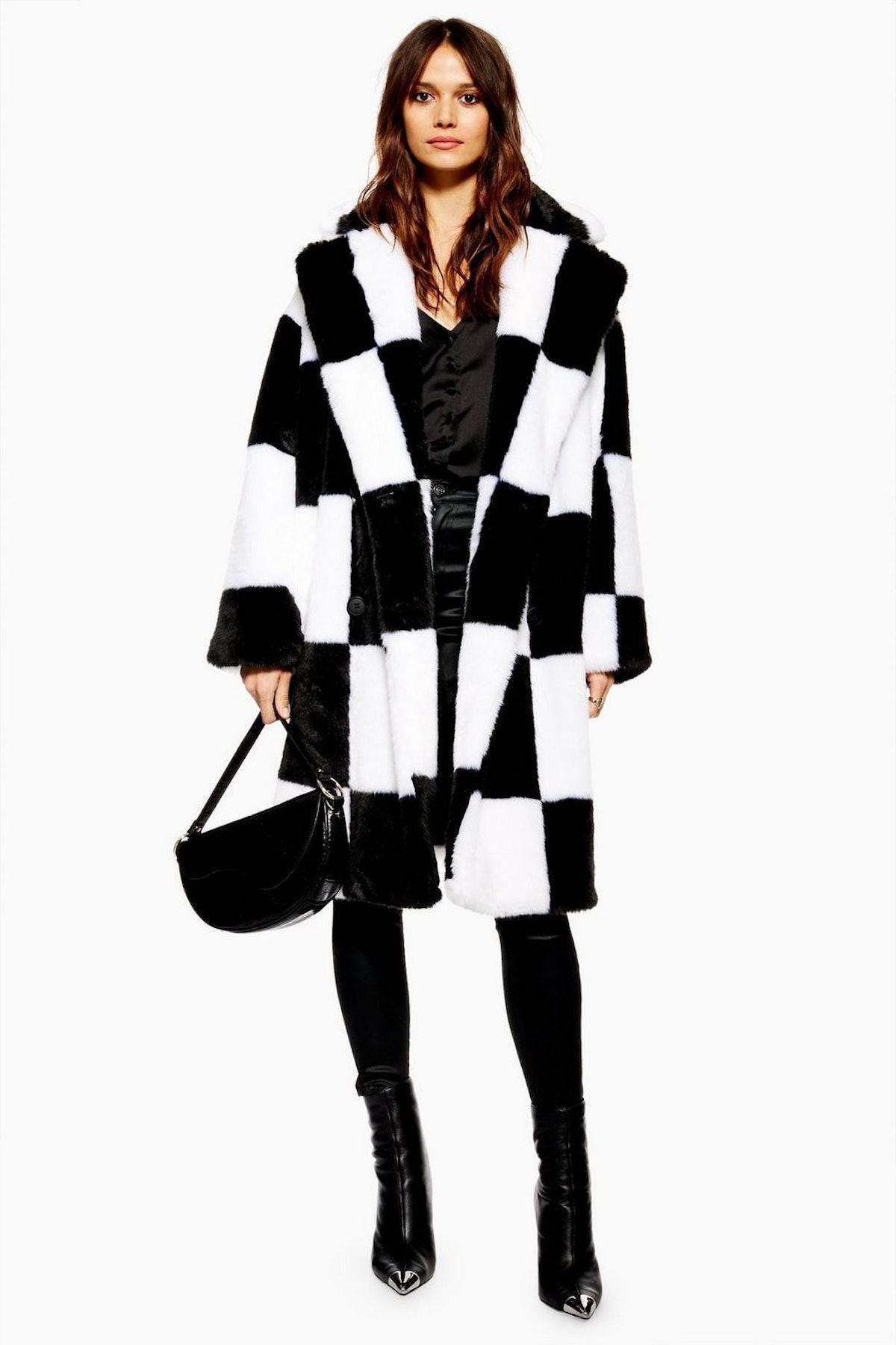 Checkerboard Faux Fur Coat
