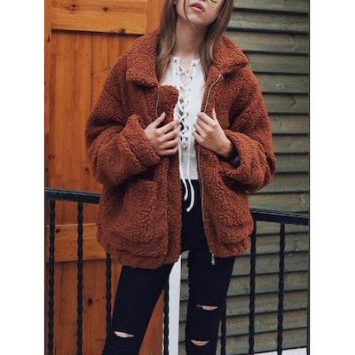 JLONG Women's Winter Warm Slim Plush Loose Coat