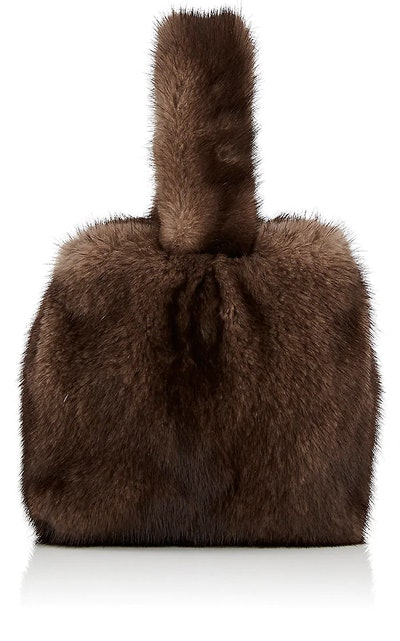 Mink Fur Wristlet Bucket Bag