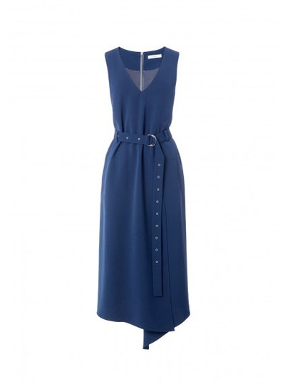 Tibi Drape Twill Wrap Dress