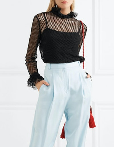 Ruffled Crocheted Lace Blouse