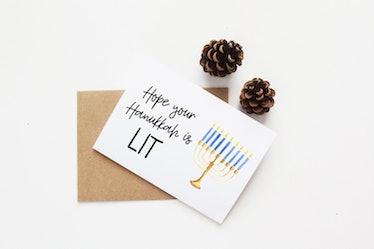 """Hanukkah is lit"" Card"
