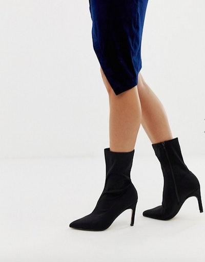 PrettyLittleThing kitten heel sock boot in black