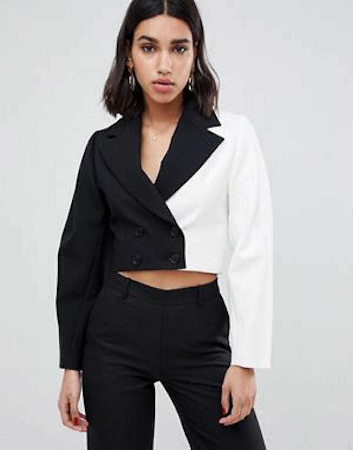 ASOS DESIGN premium mono cropped double breasted blazer