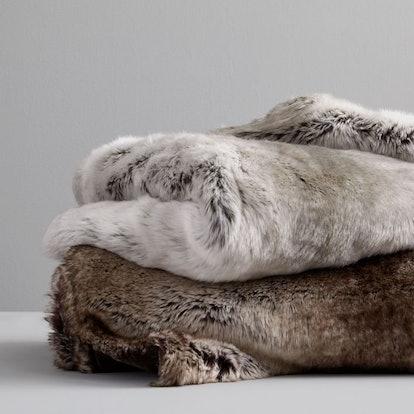 Faux Fur Ombre Throw, Mocha