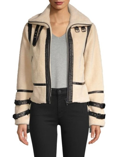 DH New York Faux-Shearling Moto Jacket