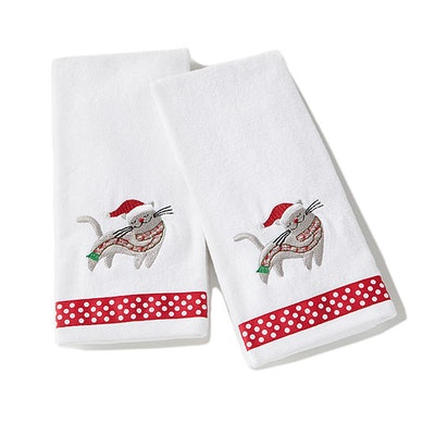 Christmas Kitten 2-Pc Embroidered Hand Towel