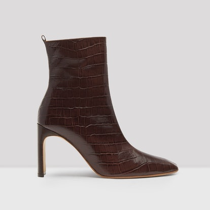 Marcelle Mahogany Croc Leather Boots