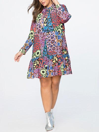 Pleated Sleeve Midi Dress