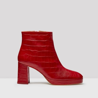 Edith Red Croc Leather Boots
