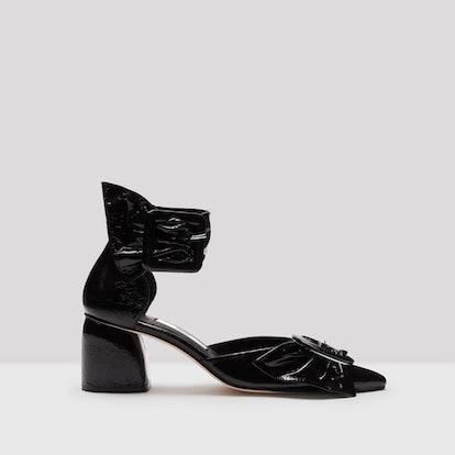 Mireille Black Glossed Leather Mid-Heels