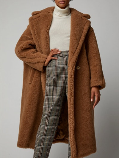 Teddy Double-Breasted Faux Fur Coat