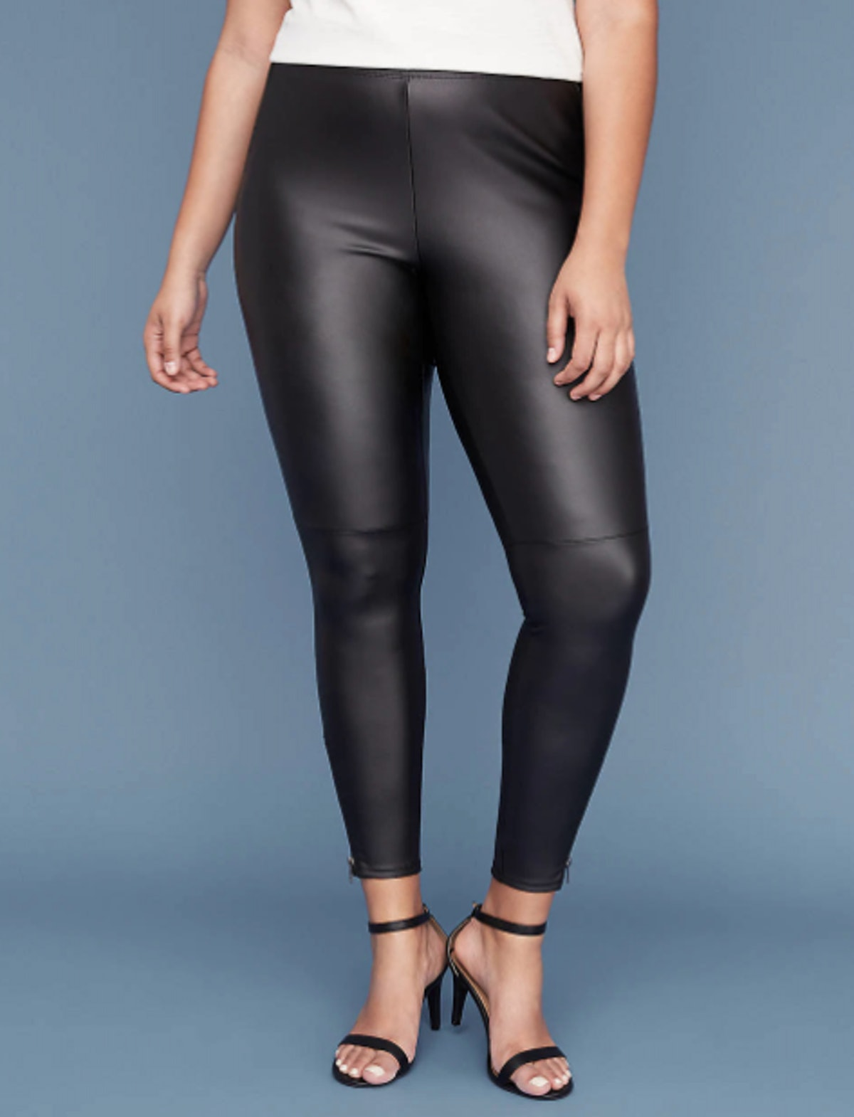 Faux Leather Legging With Ankle Zip