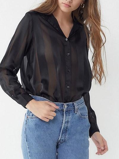 Rhee Striped Sheer Button-Down Shirt