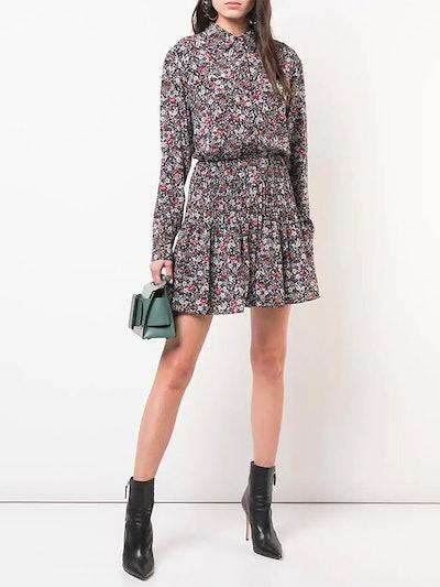 Floral Print Mini Shirt Dress