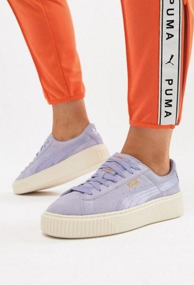 Puma Suede Platform Satin Sneaker in lavender