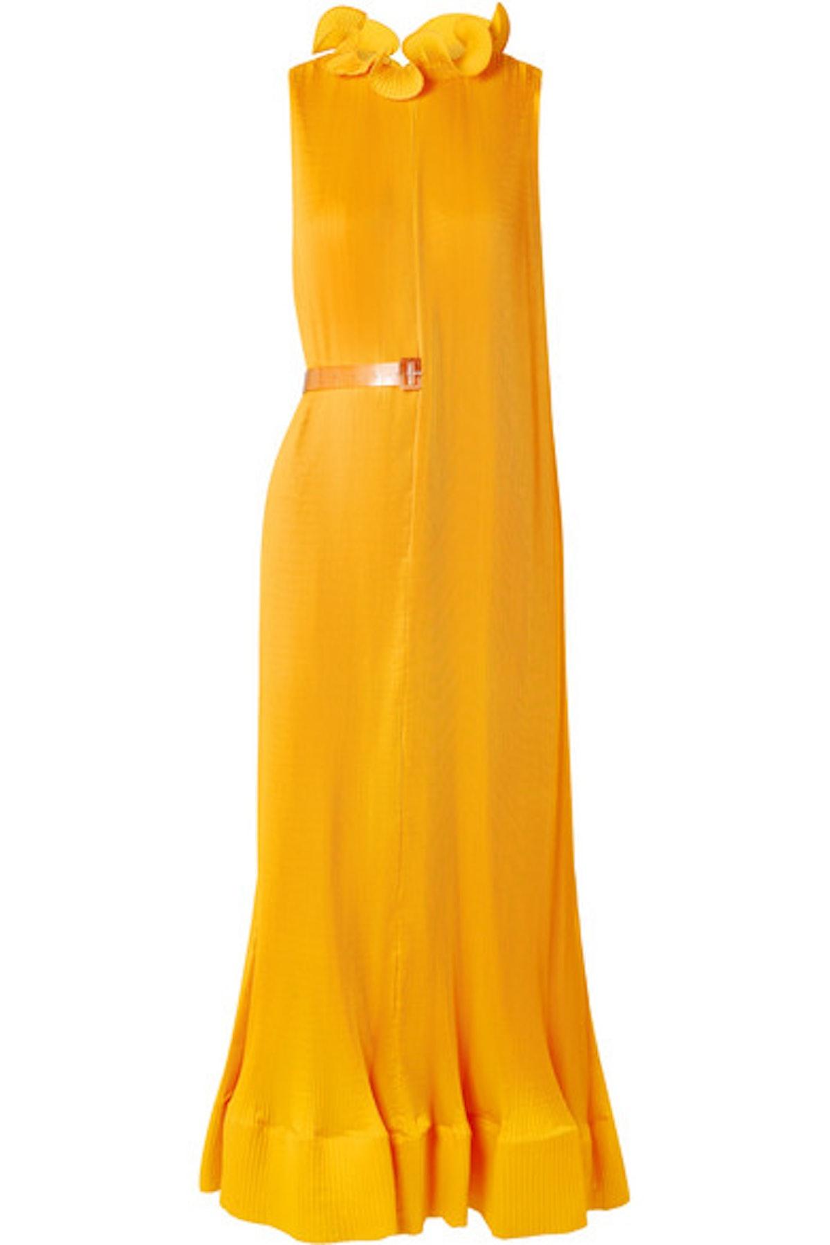 Tibi Ruffled Plissé-Satin Midi Dress