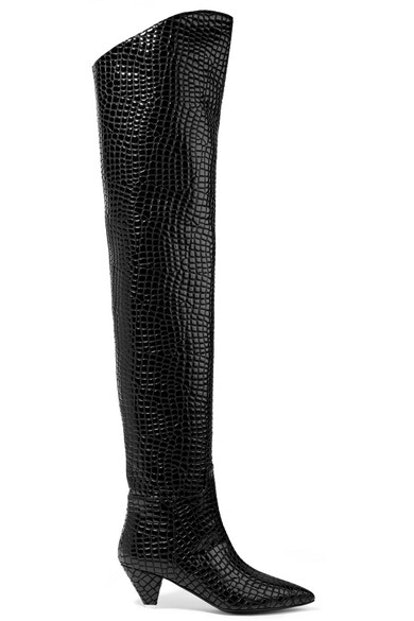 Attico Asia Croc-Effect Leather Over-The-Knee Boots