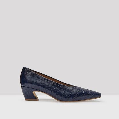Antonine Navy Croc Glossed Leather Mid-Heels