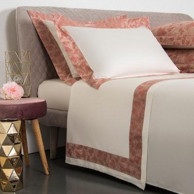 Romantic Aura Border Sheet Set, Beige/Stucco Pink, Cal King