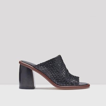 Rute Black Leather Mid-Heels