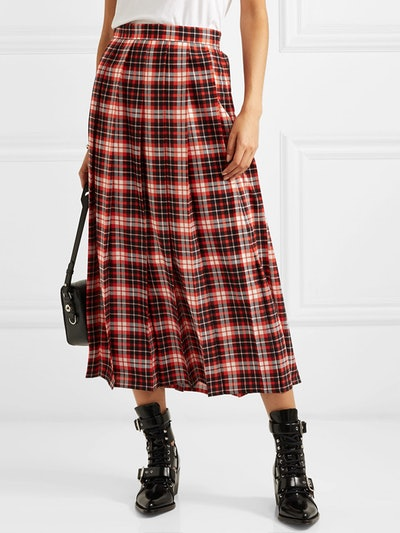 Pleated Tartan Crepe de Chine Midi Skirt