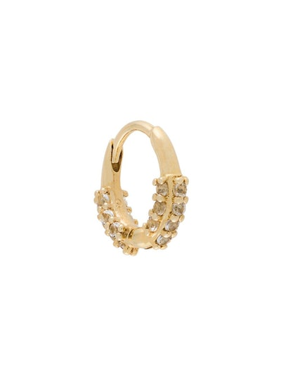 9kt Gold Oval Huggie Hoop With White Topaz