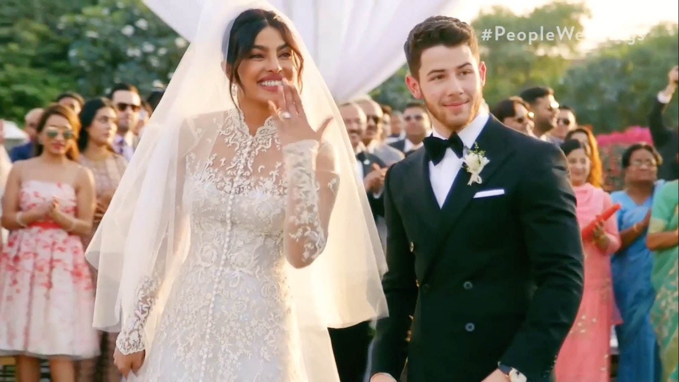 a15ee24b93 Priyanka Chopra s Wedding Veil Was 75 Feet Long   It Took Five People To  Carry It Down The Aisle