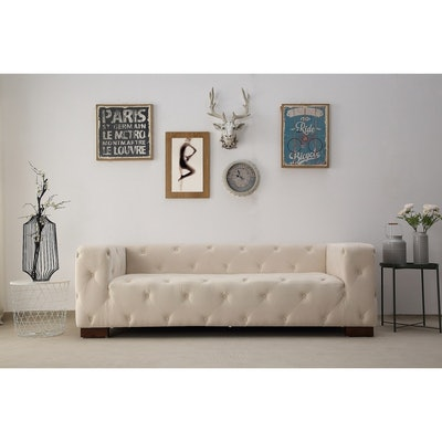 Modern Button Tufted Chesterfield Dylan Velvet Sofa
