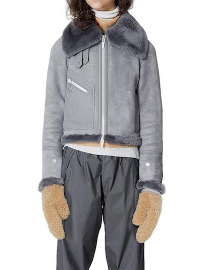 Moya Mini Leather & Genuine Shearling Jacket