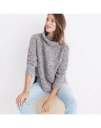 Colorfleck Ribbed Turtleneck Sweater