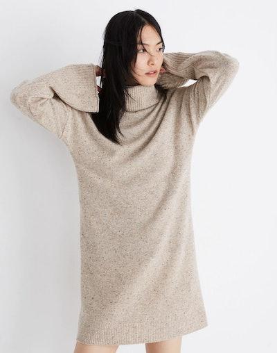 Bell-Sleeve Turtleneck Sweater-Dress