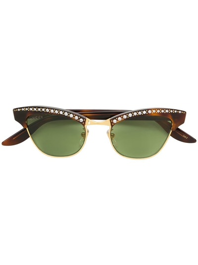 Brown Optyl And Metal Sunglasses