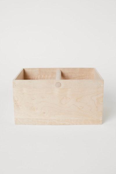 Large Wood Basket with Handle