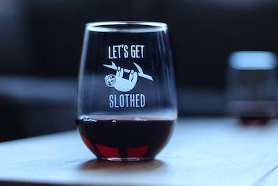 Let's Get Slothed Wine Glass