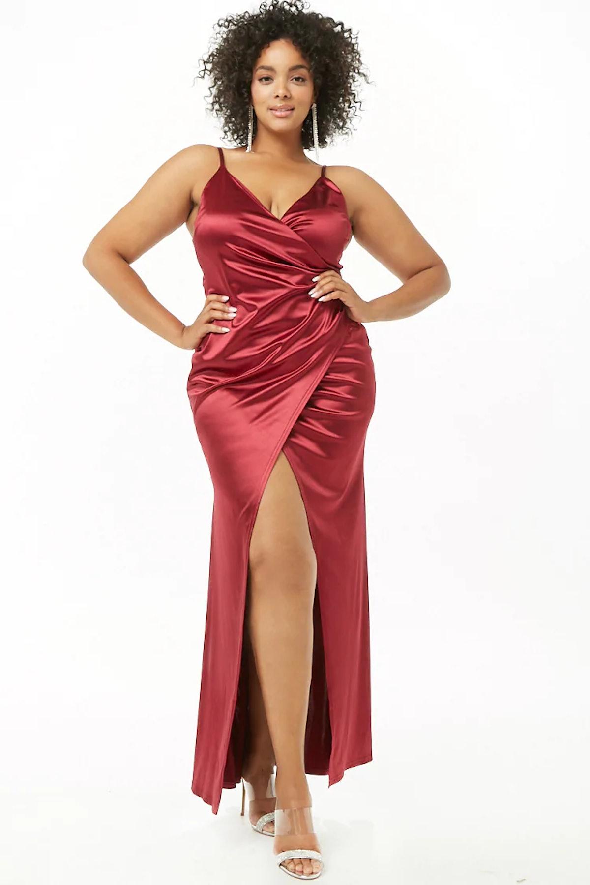 Plus Size Satin Surplice Gown