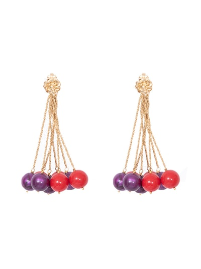Red And Purple Palazzo Earrings