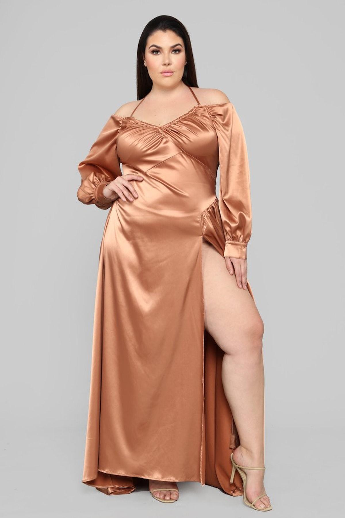 I Like Shinin' Maxi Dress - Bronze