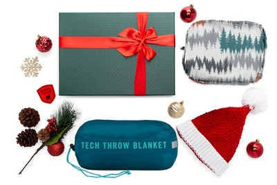 Puffy Travel Pillow and Tech Throw Travel Blanket