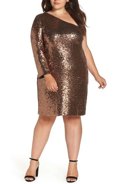 One Shoulder Sequin Party Dress MORGAN & CO.