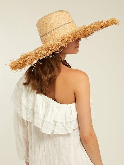 Coconut Wide-Brim Raffia Hat