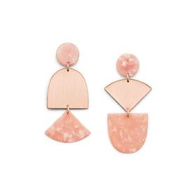 Iridescent Rose Gold-Tone Brass Earrings