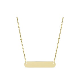 Engraveable Plaque Gold-Tone Stainless Steel Necklace