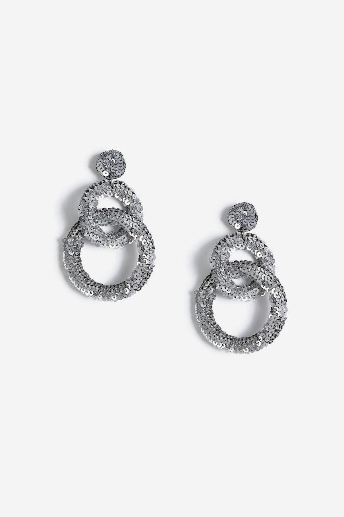 Christmas Sequin Link Drop Earrings