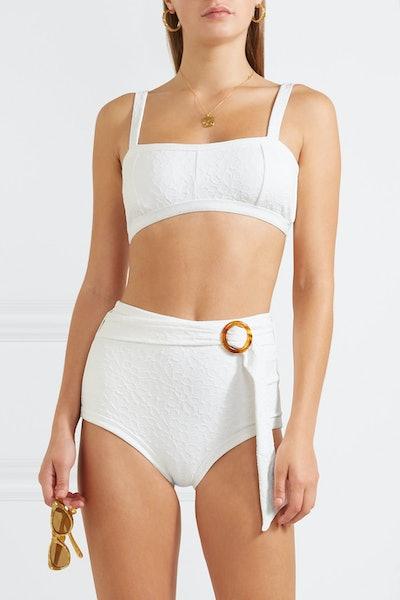 Belted Jacquard-Knit Bikini Briefs
