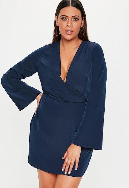 plus size navy drape plunge mini dress