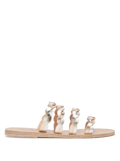 Kynthia Metallic Plaited Leather Sandals